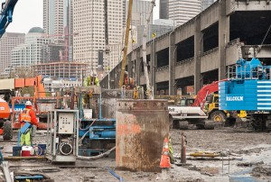 SR 99 tunnel - launch pit wall construction