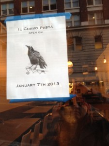 Il Corvo is close to opening!