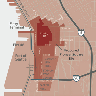 Existing BIA compared to Pioneer Square Historic District