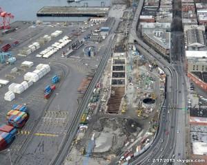 Sky cam view of the tunnel boring machine launch pit
