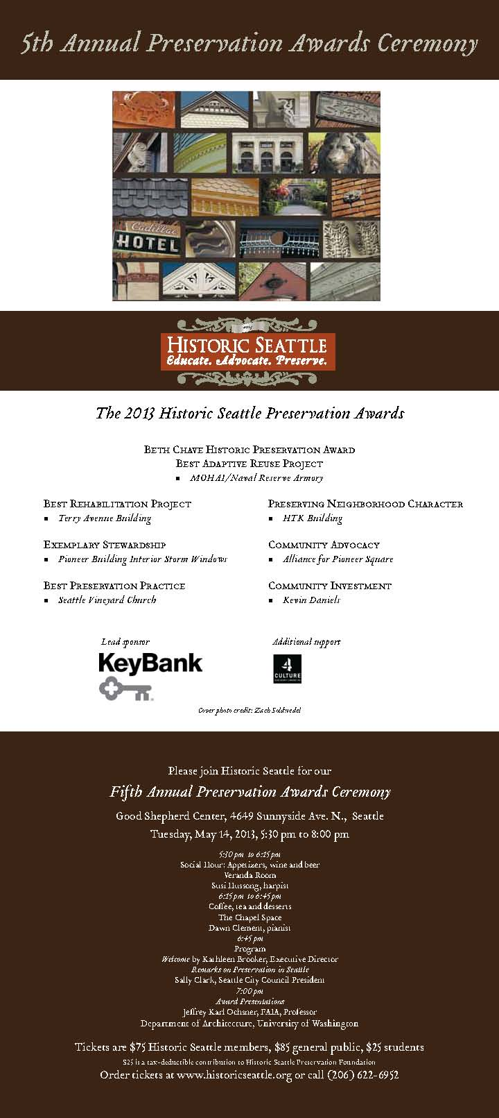 Historic Seattle 5th Annual Preservation Awards Ceremony