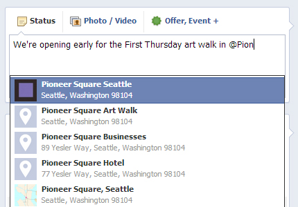 How to tag Pioneer Square in a Facebook post
