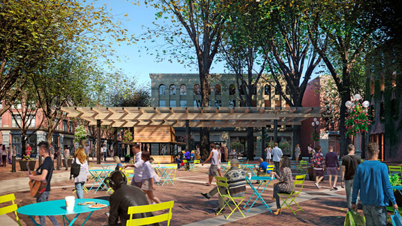 Rendering of the to-be constructed pavilion in Occidental Square